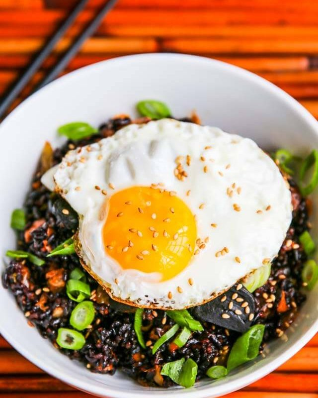 Kimchi Fried Forbidden Rice With Black Garlic