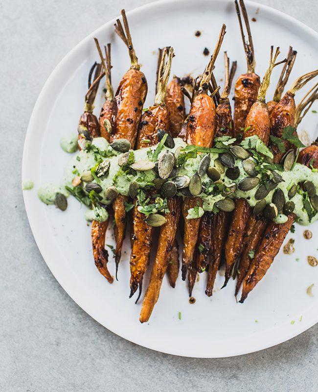 Carrots With Black Garlic & Herb Yoghurt