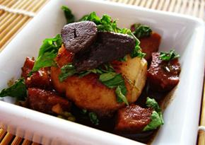 Scallops with Black Garlic and Chorizo